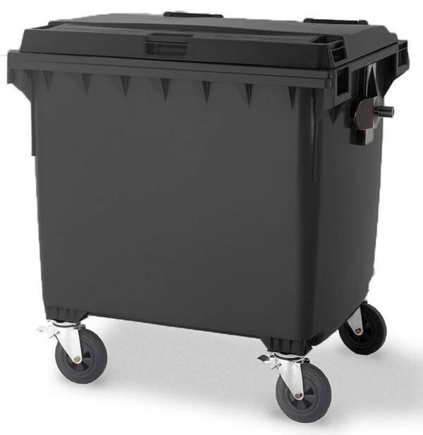 Black 1100L Wheelie Bin