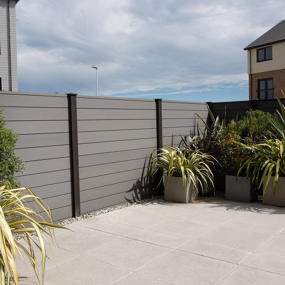 Grey Composite Fencing in Modern Garden